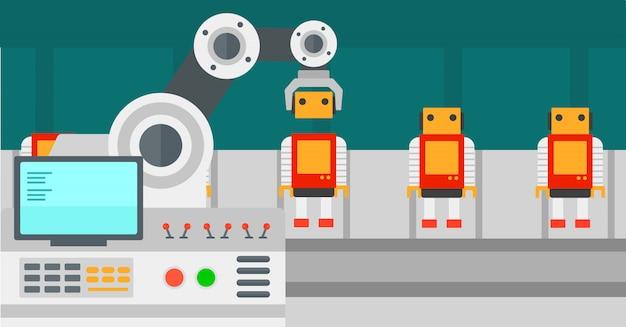 おもちゃの組み立て用のロボット生産ライン。