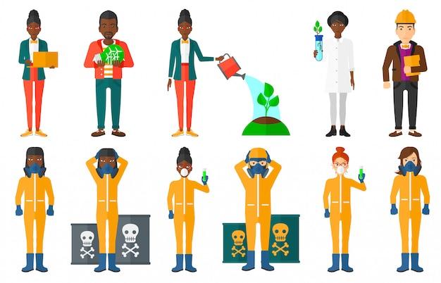 Набор персонажей по вопросам экологии.