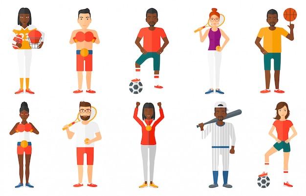 Набор спортивных персонажей.