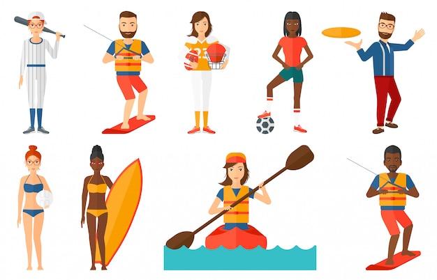 スポーツのキャラクターのセット。