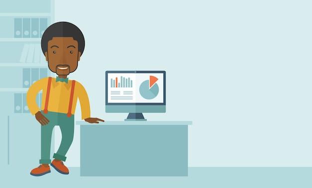 Человек, представляя график со своего компьютера