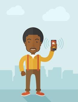 オフィスワーカーと彼のスマートフォン。