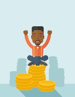 Гордый афро-американский бизнесмен.