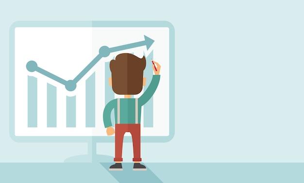 Успешный бизнесмен с диаграммой идет вверх