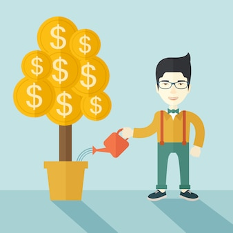 アジア系のビジネスマンが金のなる木に水をまきます。