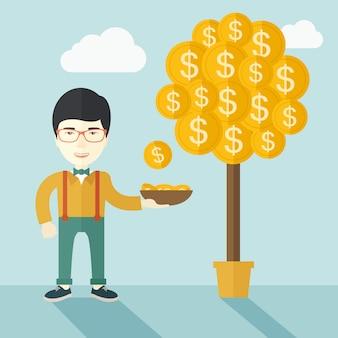 ドル硬貨をキャッチしながら立っている成功した中国の実業家。