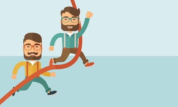 Двое мужчин бегут