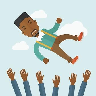幸せなアフリカ系アメリカ人の実業家。