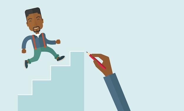 手描きの黒人男性の登山