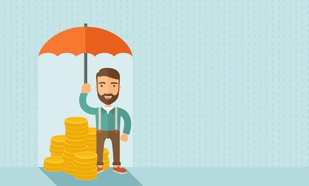 傘を持ったビジネスマン