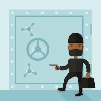 Человек в черном взлома банковского сейфа.