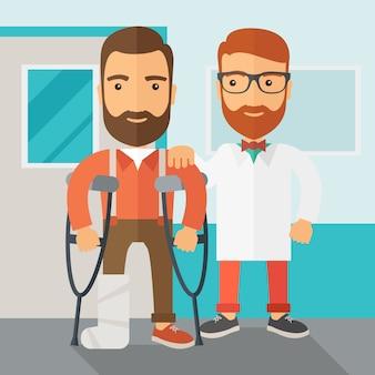 負傷した男性が医師の助けを借りて。