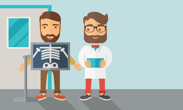 Вид человека держит рентгеновский снимок