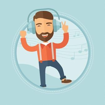 Человек в наушниках танцует