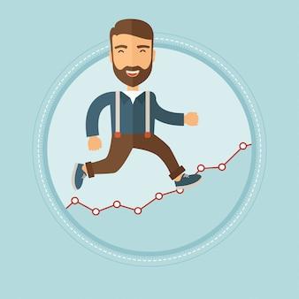 Бизнесмен, движущихся на графике роста.
