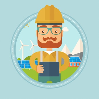太陽光発電所の男性労働者