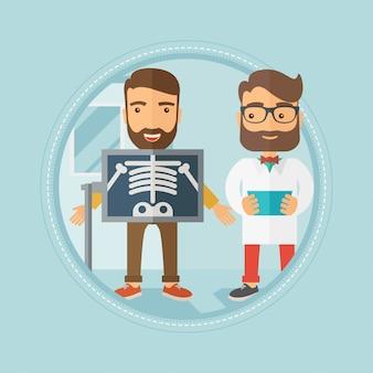 Пациент во время рентгеновской процедуры