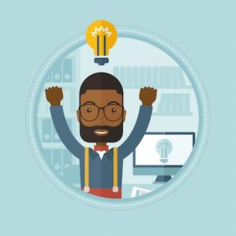 ビジネスアイデアを持つ創造的な興奮した男