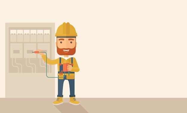 電気パネルの修理の電気技師