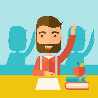 Студент поднимает руку.