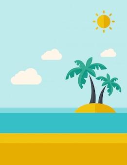 Тропический морской остров с пальмами.