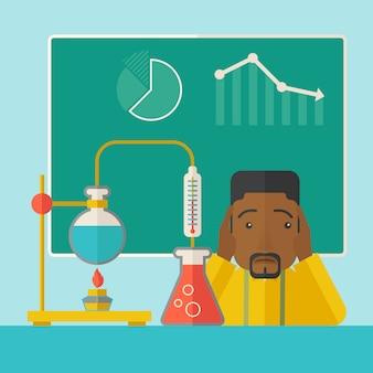 実験室でのアフリカ系アメリカ人の科学の先生。
