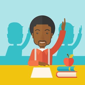 Молодой черный студент поднимает руку