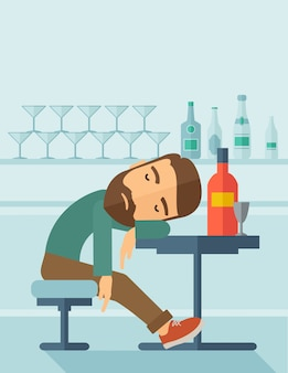 酔っぱらいはパブで眠りに落ちる。