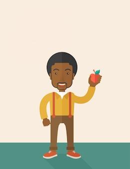 Человек, держащий яблоко.