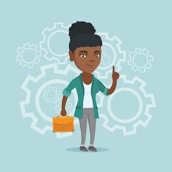 アフリカのビジネス女性がビジネスアイデアを思いついた。