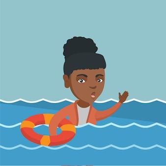 沈むと助けを求める若いビジネス女性。