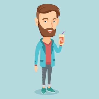 Мужчина пьет коктейль векторные иллюстрации.