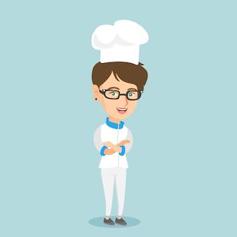 Уверенно женщина шеф-повар со скрещенными руками.