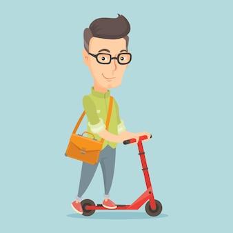 キックスクーターのベクトル図に乗る男。