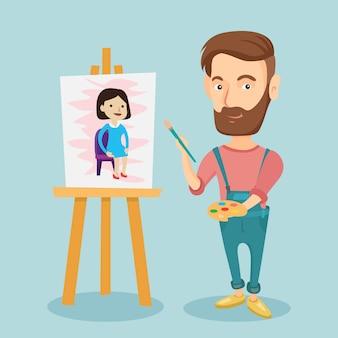 Творческий мужской художник живопись портрет.