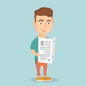 新聞のベクトル図を読んでいる人。