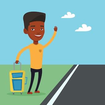Африканский человек автостоп иллюстрации.