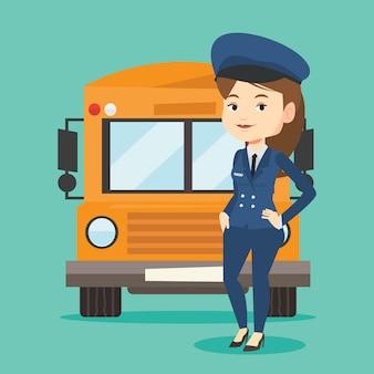 Иллюстрация водителя школьного автобуса.