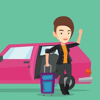 車で旅行する白人女性。