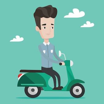 Человек езда скутер иллюстрации.