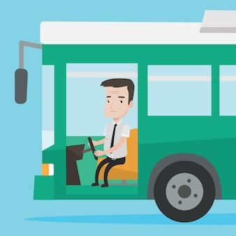 Кавказский водитель автобуса сидит за рулем.