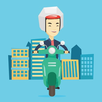 Человек езда скутер в городе.