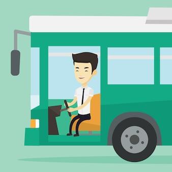 Азиатский водитель автобуса сидит за рулем.