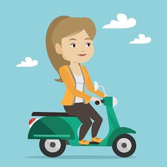 Женщина верхом скутер