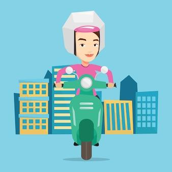 Женщина верхом на скутере в городе.