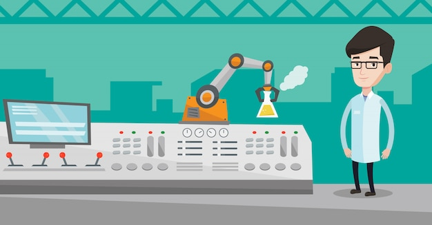 Ученый и роботизированная рука проводят эксперименты.