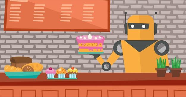 ペストリーショップで働くロボットのウェイター。