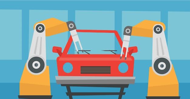 Роботизированная рука собирает машину в сборочном цехе.