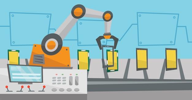Автоматизированная роботизированная производственная линия смартфонов.