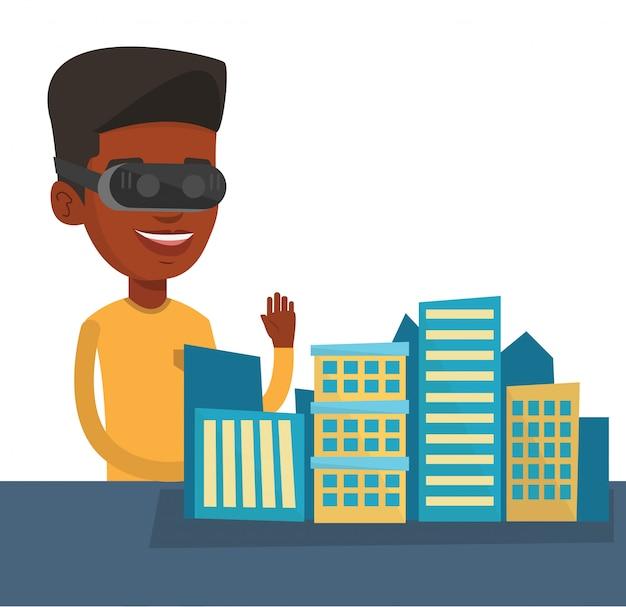 仮想現実の眼鏡を着て幸せな若い男